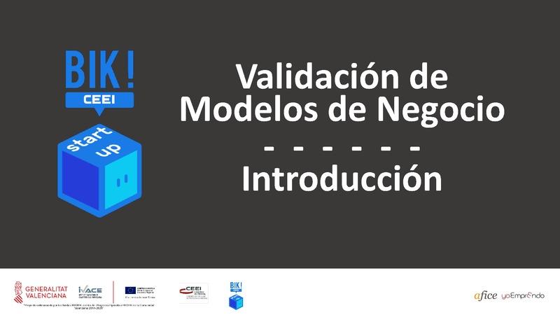 Introducción - Validación de Modelos de Negocio - BIKSTARTUP