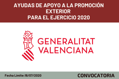 Ayudas de apoyo a la promoción exterior para el ejercicio 2020