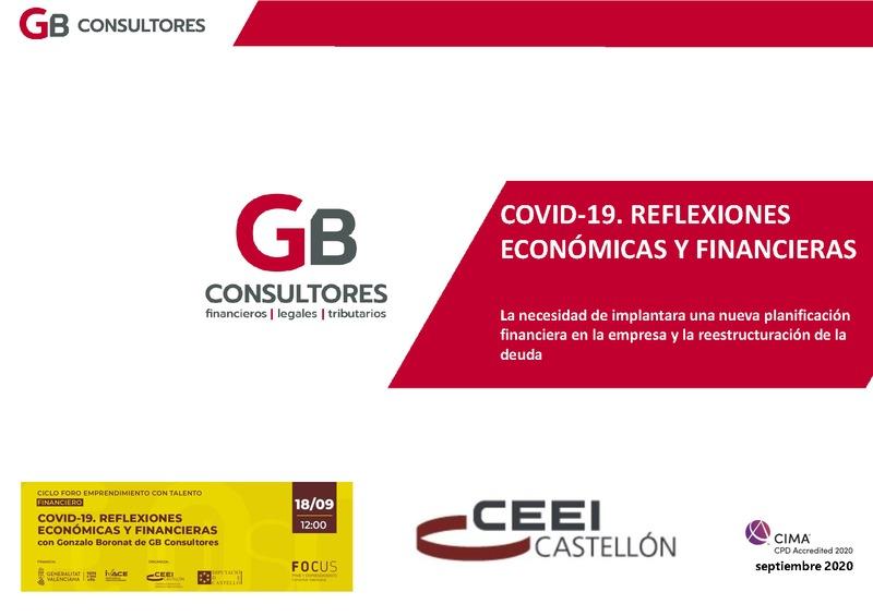 Ponencia de Gonzalo Boronat la sesión COVID-19. Reflexiones económicas y financieras