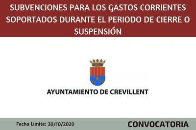 Subvenciones para los gastos corrientes soportados durante el periodo de cierre o suspensión temporal por el Covid19