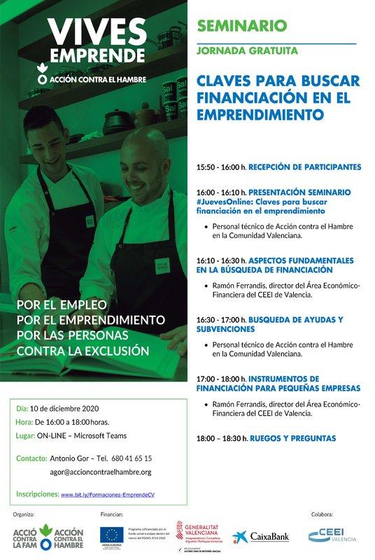 Cartel seminario financiación - Vives Emprende Valencia diciembre 2020
