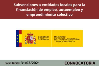 Subvenciones a entidades locales para la financiación de empleo, autoempleo y emprendimiento colectivo