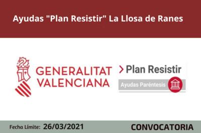 """Ayudas """"Plan Resistir"""" La Llosa de Ranes"""