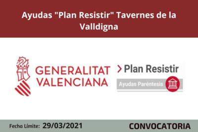 """Ayudas """"Plan Resistir"""" Tavernes de la Valldigna"""