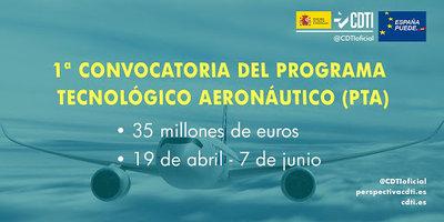 1ª Convocatoria del Programa Tecnológico Aeronáutico con 35 millones de € en subvenciones